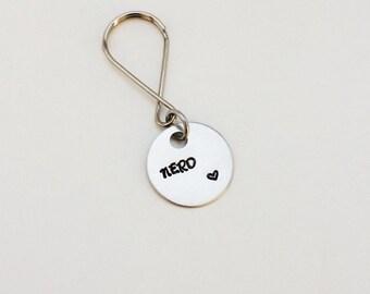NERD & heart - hand stamped keychain