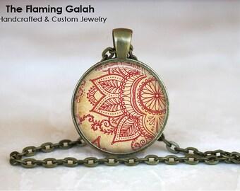 HENNA MANDALA FLOWER Pendant •  Indian Wedding Art •  Indian Boho Mandala • Gift Under 20 • Made in Australia (P0697)