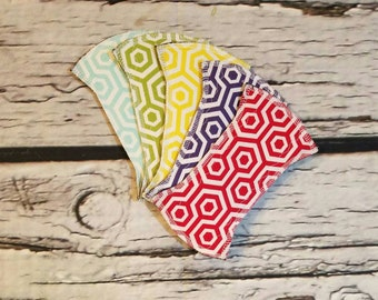 """Set of 5 6"""" Cotton Topped Wingless Cloth Panty Liner"""