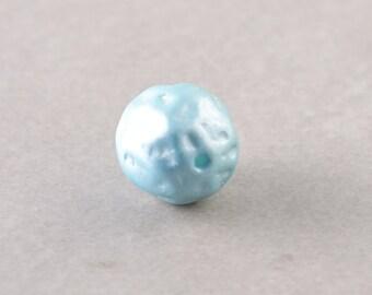 Sky Blue Vintage Bead, Textured Glass Bead, 10mm Focal Bead, One