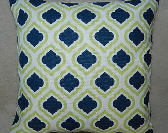 7 Sizes Available - Premier Curtis Slub Canal Navy/Chartreuse Pillow Cover