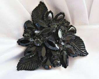 Brooch Pin Weiss Jet Vintage 1950's 1960's Rhinestone Leaf and Flower Large Brooch