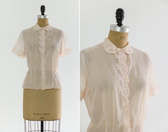 vintage 1950s light pink sheer blouse   50s nylon shirt