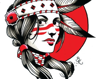 Hollywood Indian Tattoo Art Print