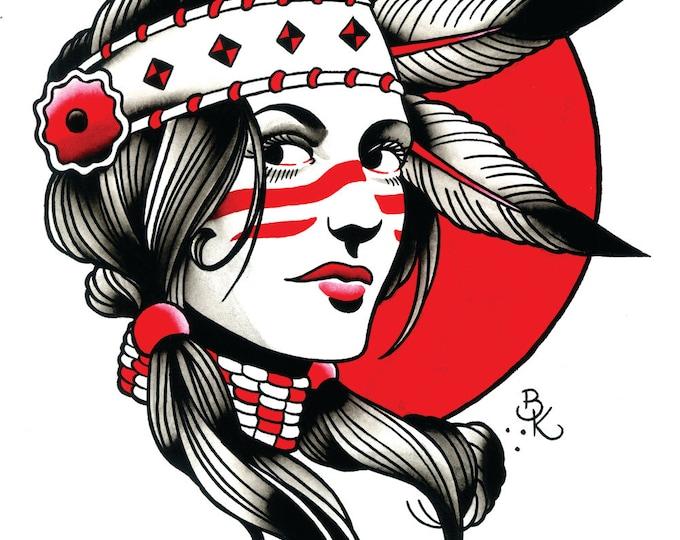 Hollywood Indian Tattoo Art Print