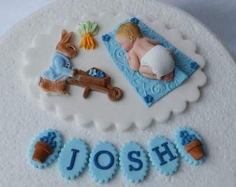 Edible baby boys Christening 1st birthday cake topper Boys