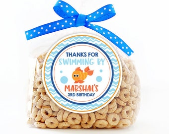 Personalized Stickers Goldfish Party Stickers, Thank You Fish Party Favors, Goldfish Party Stickers, Thanks for Swimming By Stickers