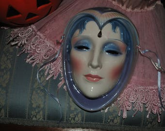 Rare vintage clay Lunar art mask