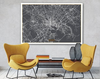 "BALTIMORE Canvas Map Large 60""x40"" Stretched Canvas Map Baltimore Maryland City Map Print Baltimore Maryland poster map art Jack Travel"