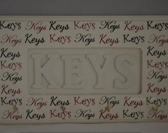 Key Hooks Key Shaped Heart Wooden Key Rack Cream F1277CREAM