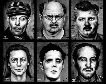 "Prints 8x10"" - The Alternate Serial Killer Series - Dark Art Horror True Crime Pop Art Gothic Death Clown Murder Leatherface Cult Monster"