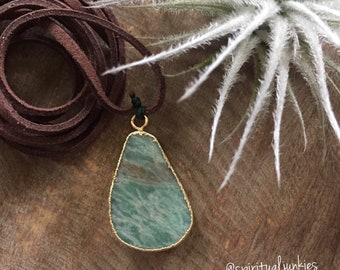 Vegan Leather + Gold Electoplated Amazonite | Adjustable Length Choker Necklace | Reiki Love Infused | Spiritual Junkies | Yoga + Meditation