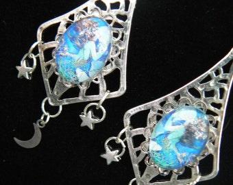 mermaid moon goddess earrings mermaid jewelry siren abalone shell mermaid resort wear celestial beach wear high fashion gypsy boho