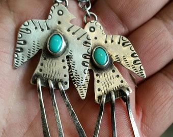 Large Thunderbird earrings. Southwestern jewelry. Thunderbird jewelry. Silver earrings. Turquoise earrings. Dangle earrings. Gypsy earrings.