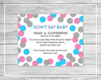 Pink and Blue Gender Reveal Don't Say Baby Game - Printable Gender Reveal Don't Say Baby Game - Pink Blue Silver Gender Reveal - SP113