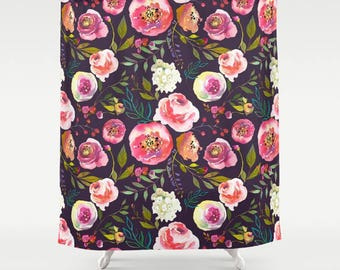 Floral Shower Curtain Girls Bathroom Decor Black Pink Watercolor Floral  Shower Curtain Girls Bathroom Apartment Gifts Womens Bathroom Decor