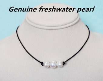 freshwater pearl necklace,leather pearl necklace, birthday gift,single pearl necklace,three pearl necklace,floating pearl necklace