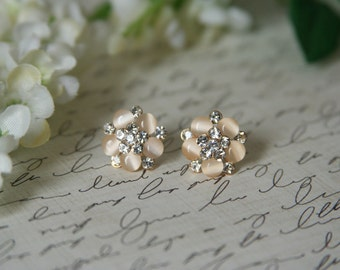 Peach Rhinestone Earrings Crystal Posts - made with peach and rhinestone buttons