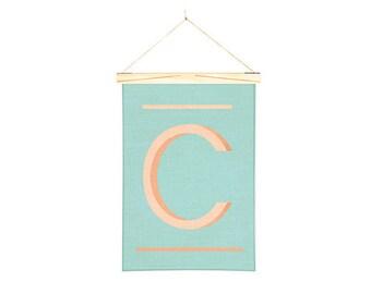Linen Print Wall Art Banner Orange C