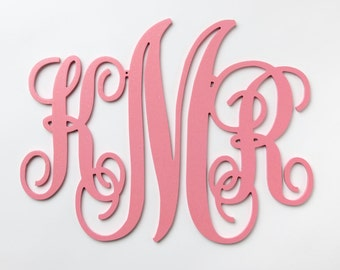 Wooden Monogram Painted, Wood Monogram, Door monogram for wall:the perfect gift for a baby shower, wedding or housewarming