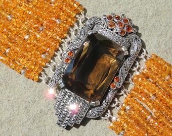 SOLD: Theodor Fahrner Jewelry, Fahrner Repurposed Brooch Bracelet, 1938 Fahrner Deco Pendant Jewelry, Mandarin Garnet Bracelet