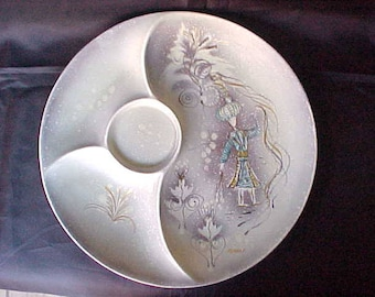 """Vintage Sascha Brastoff 12"""" Divided Serving Plate, Mid Century Modern Home Decor, Collectible Hand Painted California Pottery"""