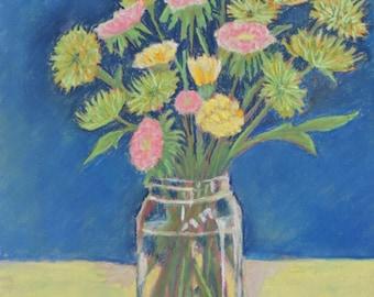 Original Art Flowers in a Jar Pastel Painting