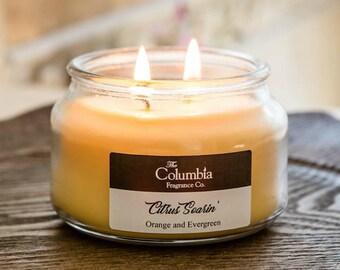 CITRUS SOARIN' - Orange and Evergreen (Disney scented), 8 oz candle, optional gift box