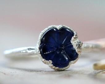 Flower Ring - Vintage Glass Ring - Blue Flower Ring - Silver Ring - Stacking Ring