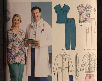 Simplicity 5443   Easy to Sew   Womens and Mens Scrub Top, Jacket, Pants, Tie and Hairband in Size XL - XXXL