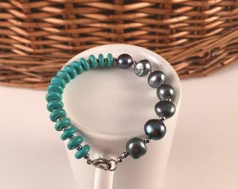Natural pearl,Black fresh water pearl bracelet, Turquoise,gift for her, free shipping