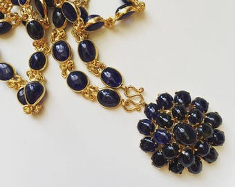 Vintage style Deep Blue Sapphire gold plated long necklace