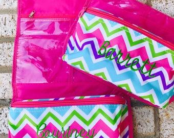 Mongoram Hanging Cosmetic Bag - Travel Bag - Dopp Kit - Chevron Toiletry Bag