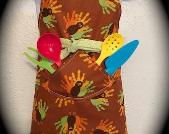 Toddler 3-6 reversible apron / turkeys and reindeer