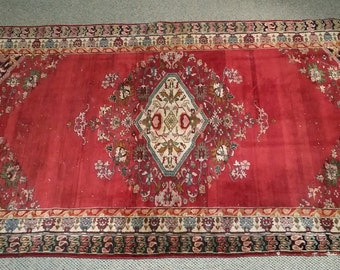 "Vintage Persian Rug 1950's HAMEDAN 3' 11"" x 6' 2"" Handmade, Hand-knotted, Natural Dyes, Bohemian, Boho Chic, Made in Iran 580m"