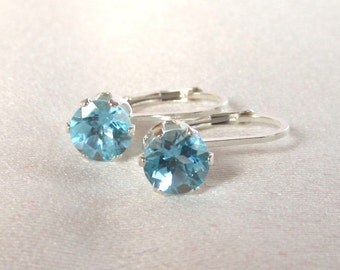 6mm Blue Topaz Round Sterling Silver Leverback Earrings 1.935 Carat Total Weight