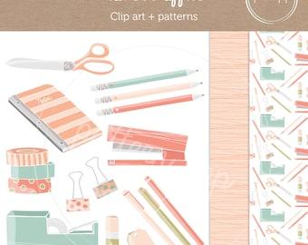 Office Supplies Digital Clip Art and Patterns - Logo, Scrapbooking