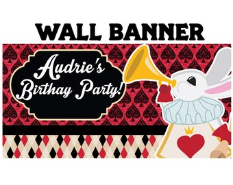 Alice Birthday Banner  ~Queen of Cards Birthday Personalized Party Banners, Birthday Banner, Printed Vinyl Banner, Custom Banner
