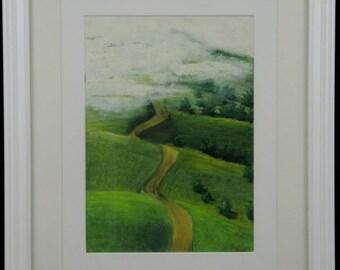 An Irish Morning - An original, framed oil pastel landscape