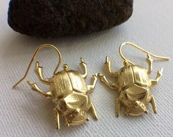 Gold Beetle Earrings, Beetle Earrings, Insect Earrings, Insect Jewelry, Bug Earrings, Bug Jewelry, Creepy Jewelry, Creepy Earrings, Gifts