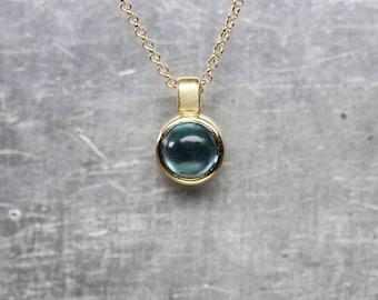 Luxurious Teal Blue Tourmaline Necklace 14K Yellow Gold Bezel Round Cabochon Gemstone Brazil October Birthstone Gift Idea - Petrol Bubble