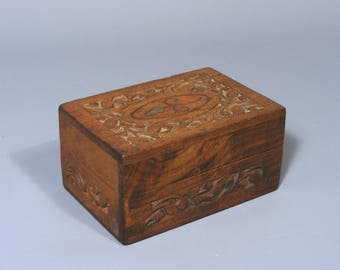 Vintage Trinket Box Teak Box Carved Wood Box Brass Inlaid