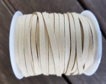 3mm Deerskin lace, leather lace, buckskin, lacing - Sold BY THE METRE, Buckskin/cream