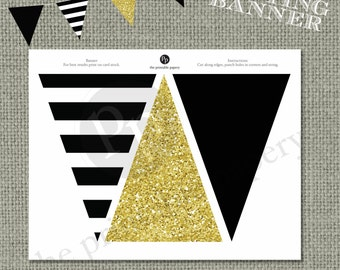 Printable Bunting Banner | Black & Gold Glitter Decor | Instant Download | BSA | DIY | No. BAN-121