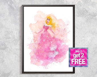 Aurora Print, Aurora Sleeping beauty art, Princess Aurora, Aurora Watercolor, sleeping beauty decor, Digital download art, Aurora poster