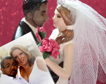 Custom Skin Tone & Tattooed Wedding Cake Topper . Custom Painted and Personalized to Resemble You