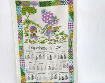 Vintage 1976 Happiness Is Love 1976 Linen Tea Towel Calendar