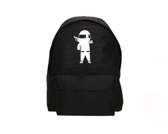 Cute Robot Embroidery Backpack (Black)