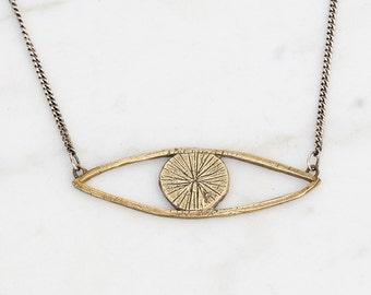Eye talisman necklace - brass on silver