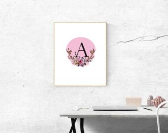 Letter A Personalized decor Nursery decor Nursery print Letter print Monogram print Initial print Personalised print Name print printable ar